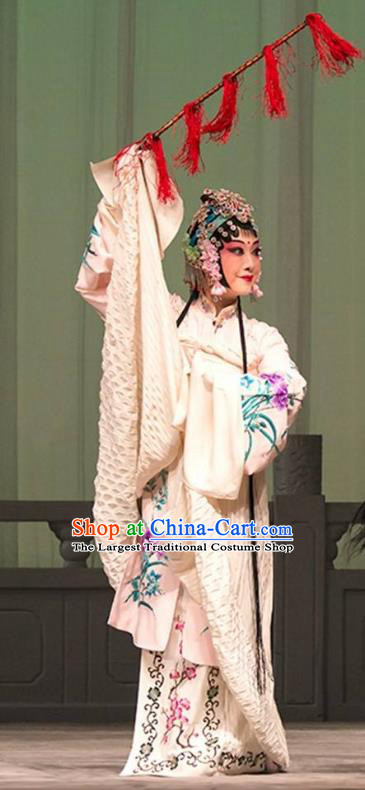 Chinese Kun Opera Huadan Actress Apparels Costumes and Hair Accessories Thousands of Miles to Send Jing Niang Kunqu Opera Young Lady Dress Garment