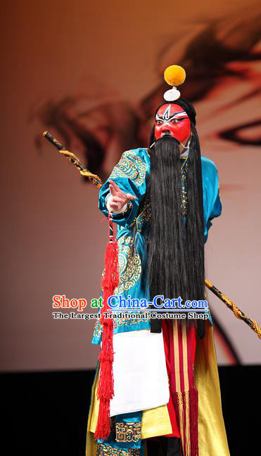 Thousands of Miles to Send Jing Niang Chinese Kun Opera General Zhao Kuangyin Apparels and Headwear Kunqu Opera Martial Man Garment Costumes