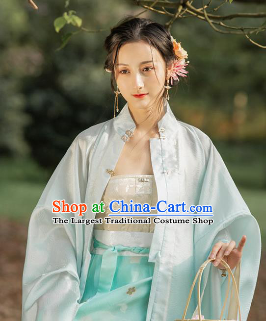 Chinese Traditional Ming Dynasty Golden Brocade Waistcoat Ancient Young Lady Garment Historical Costumes Corset Vest