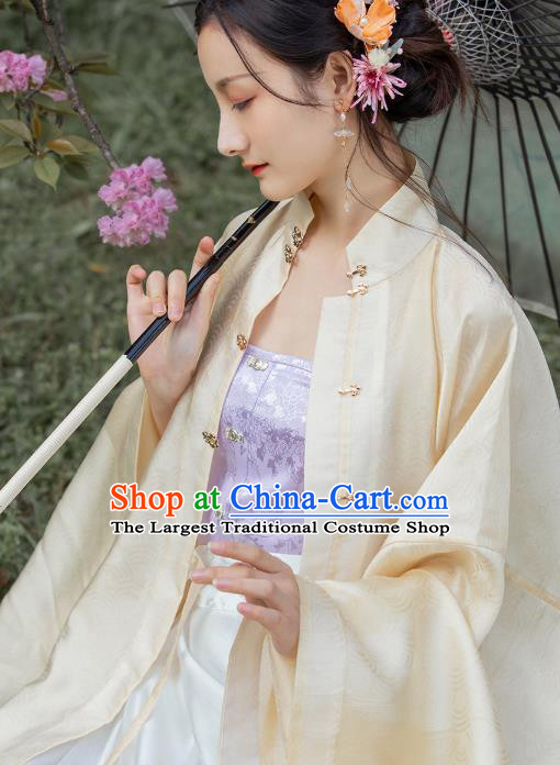 Chinese Ancient Noble Female Garment Historical Costumes Corset Vest Traditional Ming Dynasty Purple Brocade Waistcoat