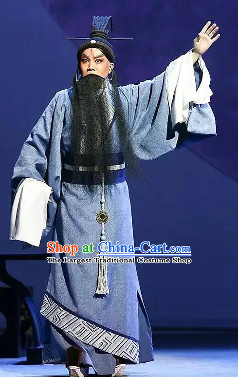 Chinese Kun Opera Elderly Male Costumes and Headwear Kunqu Opera Laosheng Garment Philosopher Confucius Apparels