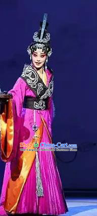 Chinese Kun Opera Actress Queen Nan Apparels Costumes and Hair Accessories Confucius Kunqu Opera Hua Tan Dress Garment