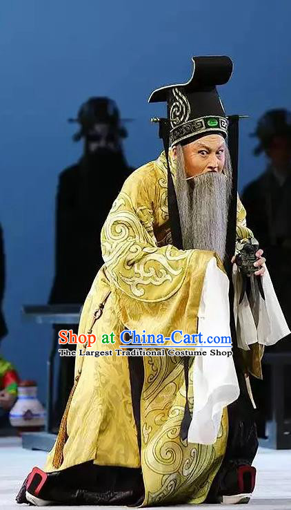 Chinese Kun Opera Confucius King Wei Costumes and Headwear Kunqu Opera Laosheng Garment Elderly Male Apparels
