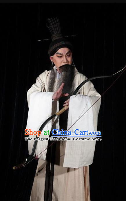 Chinese Kun Opera Old Scholar Costumes and Headwear Kunqu Opera Confucius Garment Elderly Male Philosopher Apparels