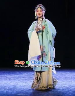 Chinese Kun Opera Diva Apparels Young Female Costumes and Headdress Kunqu Opera Tu An Gu Hua Tan Actress Dress Garment