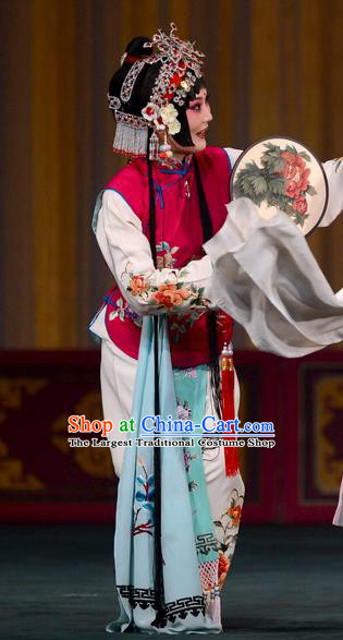 Chinese Kun Opera Young Lady Dress Apparels and Headdress Dream in The Garden Traditional Kunqu Opera Xiaodan Servant Girl Garment Costumes