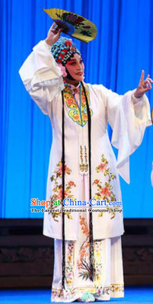Chinese Kun Opera Young Lady White Dress Apparels and Headdress Dream in The Garden Traditional Kunqu Opera Hua Tan Garment Du Liniang Costumes