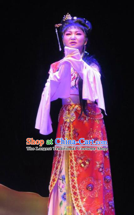 The Peacocks Fly To The Southeast Chinese Shaoxing Opera Hua Tan Dress Yue Opera Apparels Garment Young Female Costumes and Hair Accessories