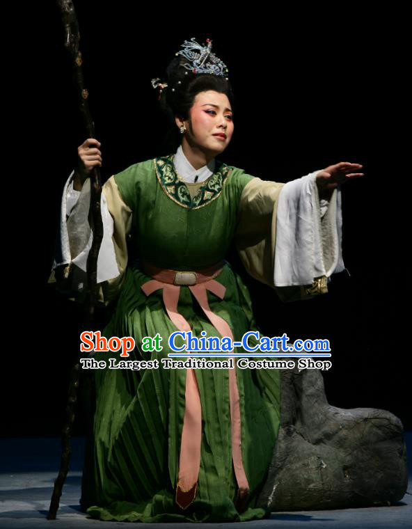 The Peacocks Fly To The Southeast Chinese Shaoxing Opera Dame Green Dress Yue Opera Apparels Garment Young Mistress Costumes and Hair Ornament