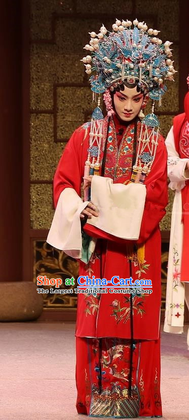 Chinese Kun Opera Huadan Red Dress Apparels and Headdress Full Bed Wat Traditional Kunqu Opera Young Female Actress Garment Costumes