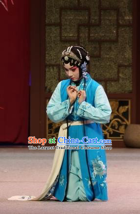 Chinese Kun Opera Young Girl Blue Dress Apparels and Headdress Full Bed Wat Traditional Kunqu Opera Servant Lady Garment Costumes