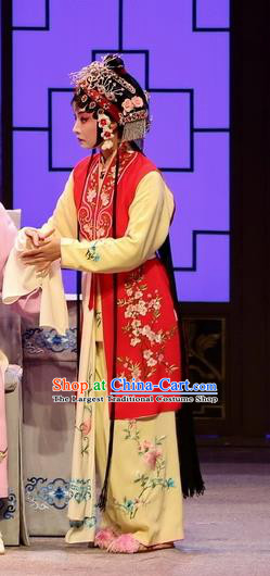 Chinese Kun Opera Xiaodan Maidservant Dress Apparels and Headdress Full Bed Wat Traditional Kunqu Opera Young Girl Red Garment Costumes