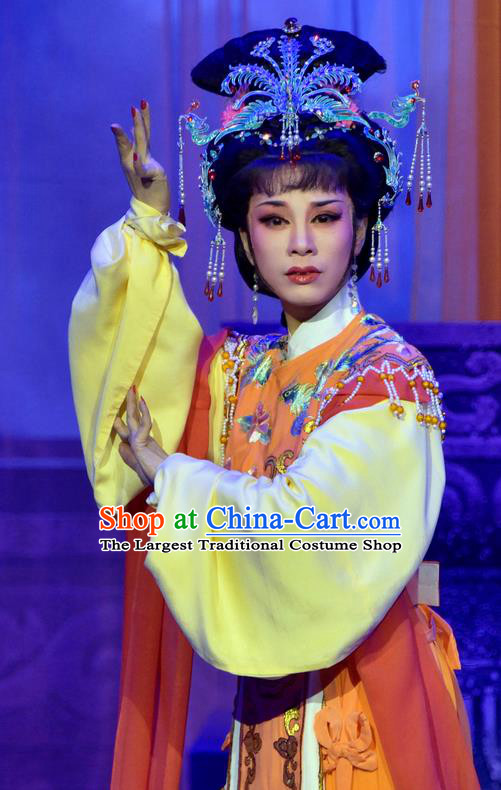 Chinese Shaoxing Opera Goddess Pi Shan Jiu Mu Qian Yulian Apparels Dress Costumes Yue Opera Hua Tan Actress Garment and Headpieces