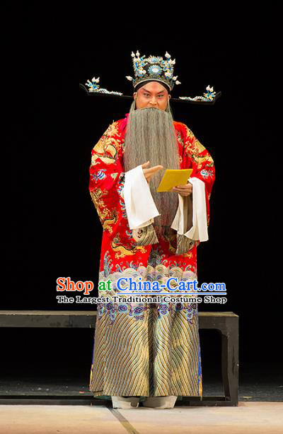 Chinese Kun Opera Official Continue the Pipa Cao Cao Costumes and Headwear Kunqu Opera Elderly Male Garment Apparels