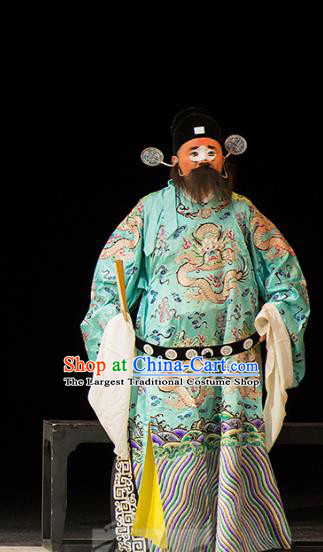 Chinese Kun Opera Clown Official Continue the Pipa Cao Cao Costumes and Headwear Kunqu Opera Garment Apparels Green Embroidered Robe