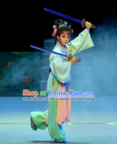 Chinese Shaoxing Opera Martial Female Costumes Pi Shan Jiu Mu Apparels Yue Opera Actress Dress Goddess Wu Dan Garment and Headpieces