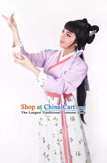 Chinese Shaoxing Opera Maidservant Costumes Zhang Yu Niang Apparels Yue Opera Garment Village Girl Dress and Headpieces