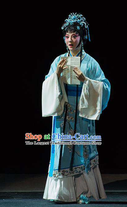 Chinese Kun Opera Young Woman Blue Dress Apparels Costumes and Hair Accessories Continue the Pipa Traditional Kunqu Opera Hua Tan Cai Wenji Garment