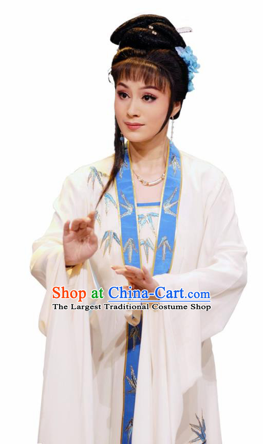Chinese Shaoxing Opera Noble Lady Costumes Zhang Yu Niang Apparels Yue Opera Hua Tan Garment Actress White Dress and Hair Accessories