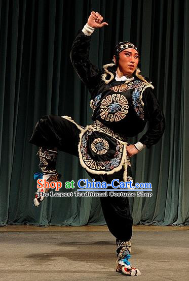 Qing Zhong Ji Chinese Kun Opera Martial Male Apparels Costumes and Headwear Kunqu Opera Wusheng Garment Takefu Clothing
