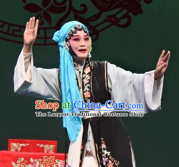 Chinese Kun Opera Distress Woman Zhang Sangu Apparels Costumes and Headdress Yan Yun Pavilion Traditional Kunqu Opera Young Female Black Dress Garment