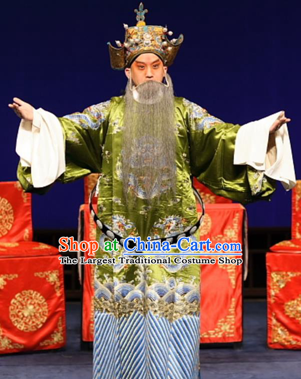 Feng Zheng Wu Chinese Kun Opera Elderly Male Apparels Costumes and Headwear Kunqu Opera Laosheng Garment Official Clothing