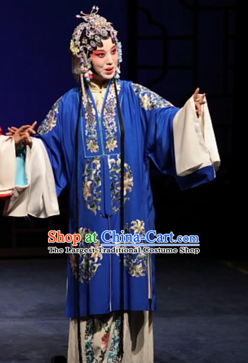 Chinese Kun Opera Noble Female Costumes Apparels and Headdress Feng Zheng Wu Traditional Kunqu Opera Hua Tan Blue Dress Garment