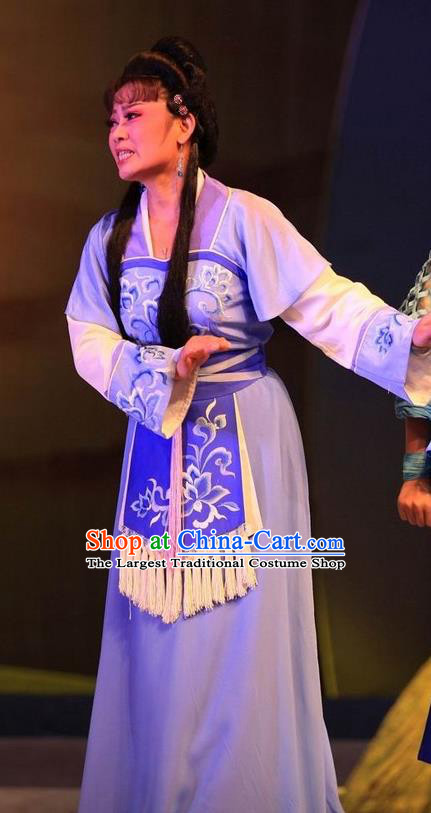 Chinese Huangmei Opera Young Female Costumes Apparels and Headpieces Chuan Deng Traditional Anhui Opera Woman Purple Dress Garment