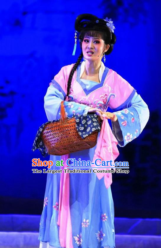 Chinese Huangmei Opera Actress Costumes Apparels and Headpieces Chuan Deng Traditional Anhui Opera Dress Young Female Garment