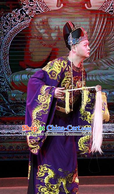 Chuan Deng Chinese Huangmei Opera Figurant Apparels Costumes Kunqu Opera Court Eunuch Garment Clothing and Headwear