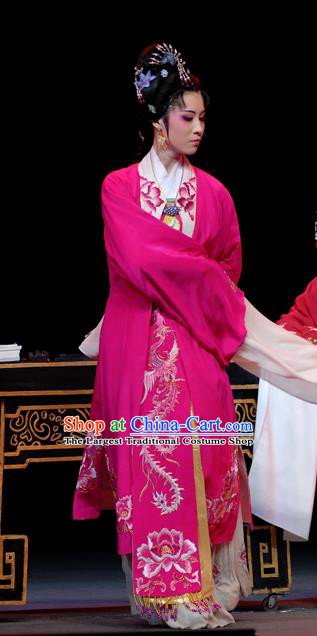 Chinese Shaoxing Opera Young Female Costumes Yu Qing Ting Apparels Yue Opera Hua Tan Garment Noble Lady Rosy Dress and Headwear