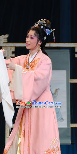 Chinese Shaoxing Opera Hua Tan Noble Lady Costumes Yu Qing Ting Apparels Yue Opera Garment Young Female Pink Dress and Headpieces