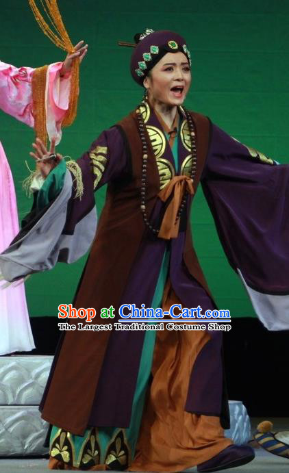 Chinese Huangmei Opera Elderly Taoist Nun Costumes Apparels and Headdress Escaping From the Temple Traditional Anhui Opera Pantaloon Dress Garment