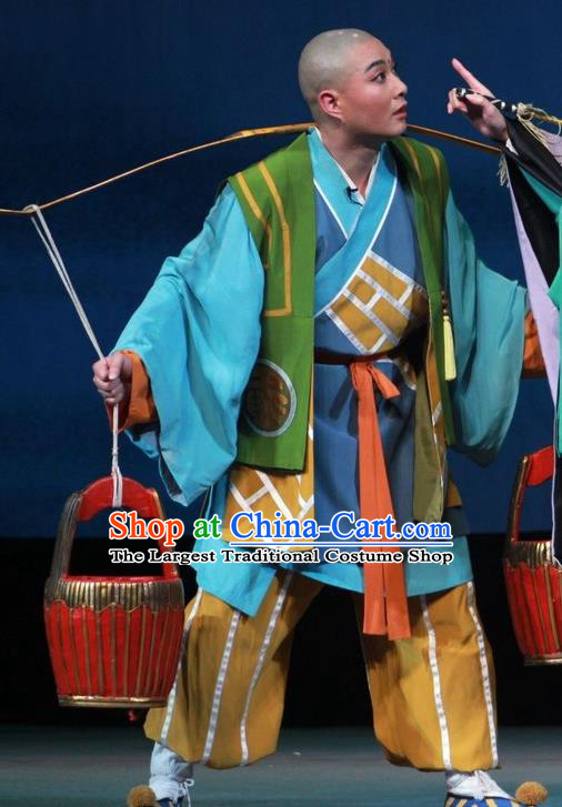 Chinese Huangmei Opera Escaping From the Temple Apparels Costumes Kunqu Opera Young Male Garment Youth Monk Clothing