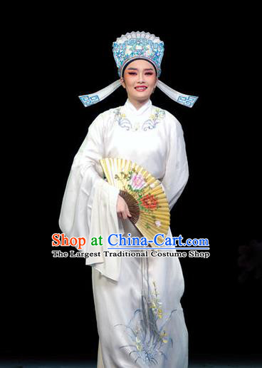 Chinese Yue Opera Xiao Sheng Apparels Yu Qing Ting Shen Guisheng Shaoxing Opera Costumes Young Male Scholar Garment White Embroidered Robe and Hat