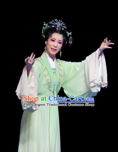 Chinese Shaoxing Opera Hua Tan Costumes Yu Qing Ting Apparels Yue Opera Garment Young Female Noble Lady Green Dress and Headpieces