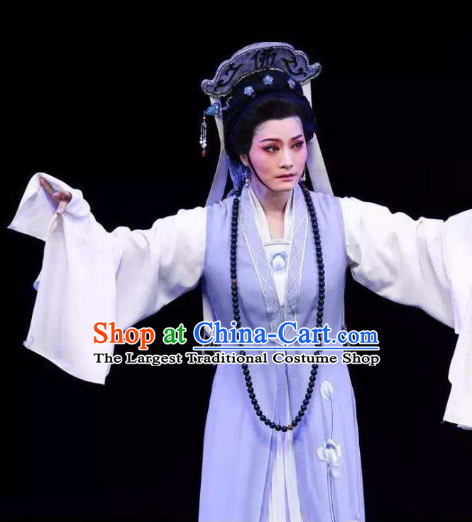Chinese Shaoxing Opera Taoist Nun Costumes Yu Qing Ting Apparels Yue Opera Garment Young Female Wang Zhizhen Dress and Headdress
