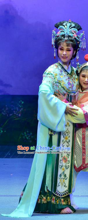 Chinese Shaoxing Opera Goddess Female Costumes Pi Shan Jiu Mu Apparels Yue Opera Actress Dress Immortal Maiden Garment and Headpieces