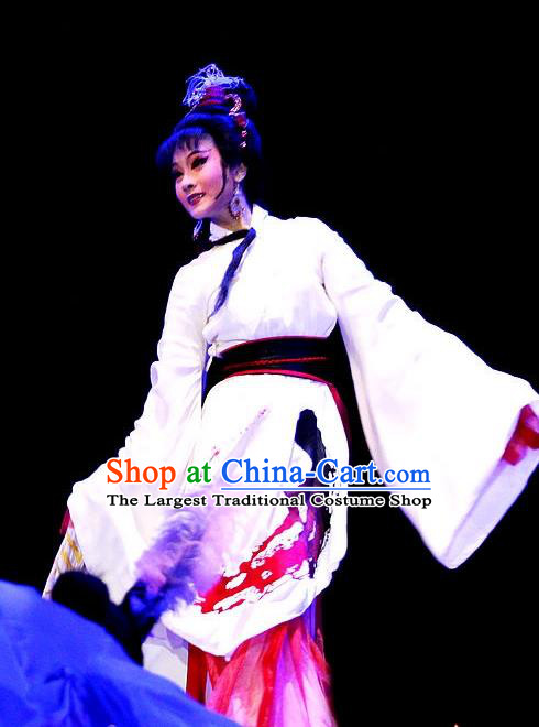 Chinese Huangmei Opera Young Lady Costumes Apparels and Headdress Qian Yu Jin Traditional Anhui Opera Actress A Ling Dress Garment