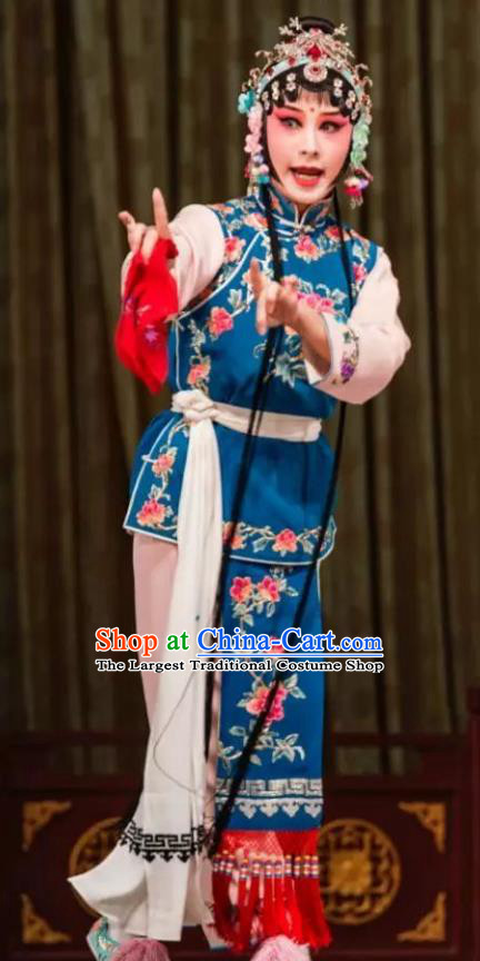 Traditional Chinese Kun Opera Xiaodan Costumes and Headdress The Legend of Hairpin Kunqu Opera Servant Girl Yun Xiang Garment Apparels