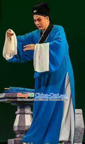 Chinese Yue Opera Niche Xiao Sheng Apparels The Pearl Tower Shaoxing Opera Costumes Young Male Garment Poor Scholar Blue Robe and Hat