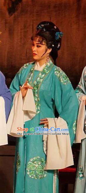 Chinese Shaoxing Opera Diva Costumes The Pearl Tower Apparels Yue Opera Hua Tan Garment Actress Green Dress and Headpieces
