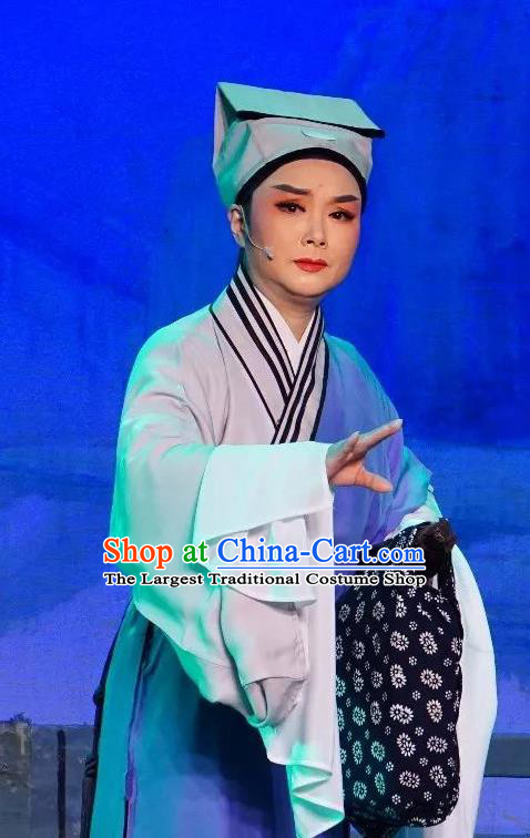Chinese Yue Opera Niche Poor Scholar Apparels The Pearl Tower Shaoxing Opera Xiao Sheng Costumes Young Male Garment Blue Robe and Hat