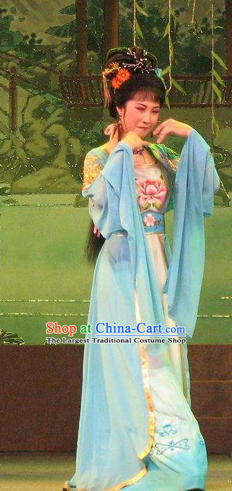 Chinese Shaoxing Opera Hua Tan Diva Costumes The Pearl Tower Apparels Yue Opera Garment Actress Rich Lady Blue Dress and Hair Accessories