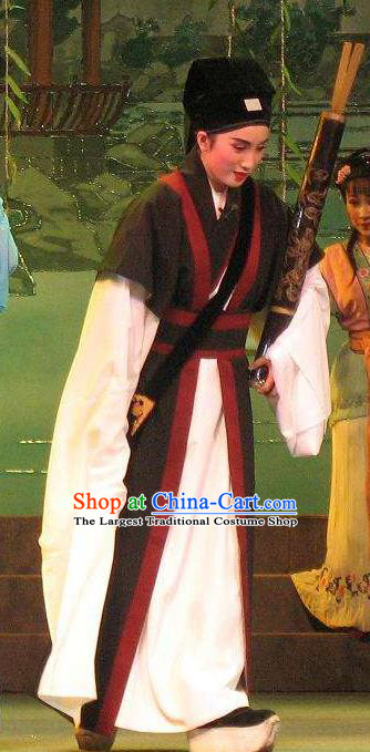 Chinese Yue Opera Poor Scholar Fang Qing Apparels The Pearl Tower Shaoxing Opera Xiao Sheng Costumes Niche Garment and Hat