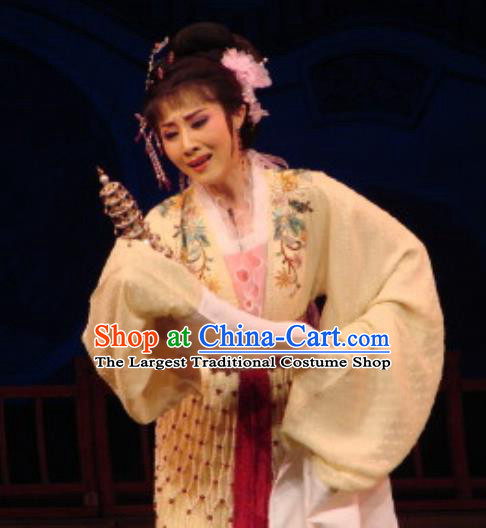 Chinese Shaoxing Opera Diva Rich Female Costumes The Pearl Tower Apparels Yue Opera Hua Tan Garment Actress Young Lady Dress and Hair Accessories