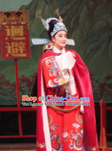 Chinese Yue Opera Number One Scholar Apparels The Pearl Tower Shaoxing Opera Xiao Sheng Costumes Niche Red Garment and Hat