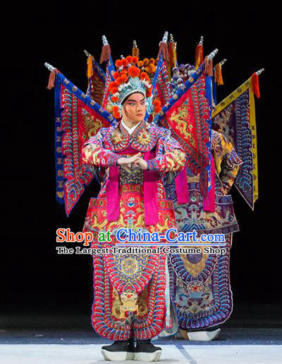 Chinese Kun Opera Young Man Military Officer Continue the Pipa Costumes and Headwear Kunqu Opera Garment Apparels General Rosy Kao Armor Suit with Flags