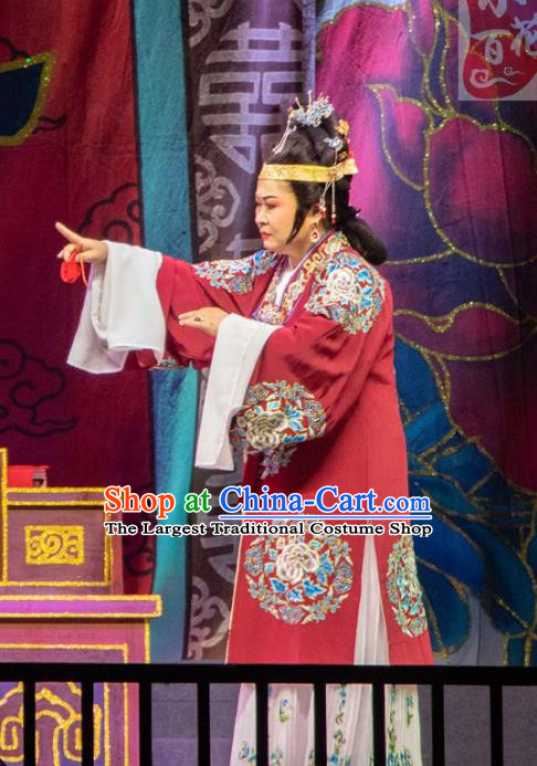 Chinese Shaoxing Opera Countess Rich Dame Costumes The Pearl Tower Apparels Yue Opera Garment Elderly Female Dress and Headdress