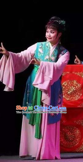 Chinese Shaoxing Opera Young Lady Maidservant Costumes The Pearl Tower Apparels Yue Opera Garment Servant Girl Actress Dress and Hair Jewelry